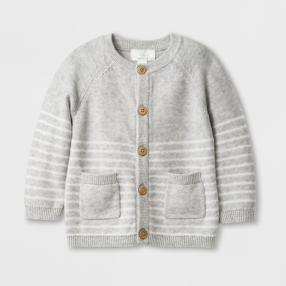 Image of Baby Boys' Long Sleeve Cardigan - Cloud Island Gray 0-3M, Boy's
