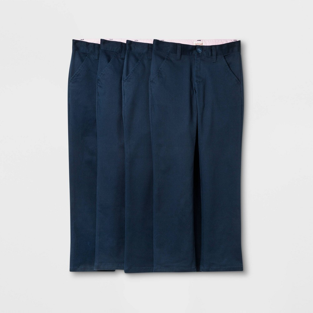 Girls 39 4pk Flat Front Stretch Uniform Straight Fit Pants Cat 38 Jack 8482 Dark Blue 5