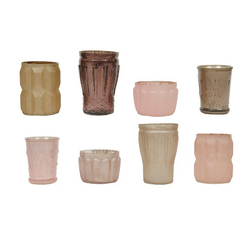 "8pc Mercury Glass Votive Holder Set Beige/Pink 3""x5"" - 3R Studios® - image 1 of 1"