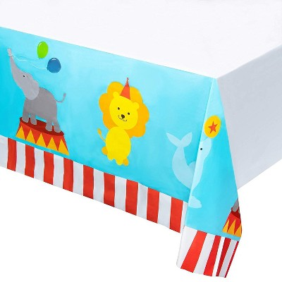 """Juvale 6-Pack Circus Disposable Plastic Tablecloth Table Cover 54""""x108"""" Kids Party Supplies, 4.5x9 Feet"""
