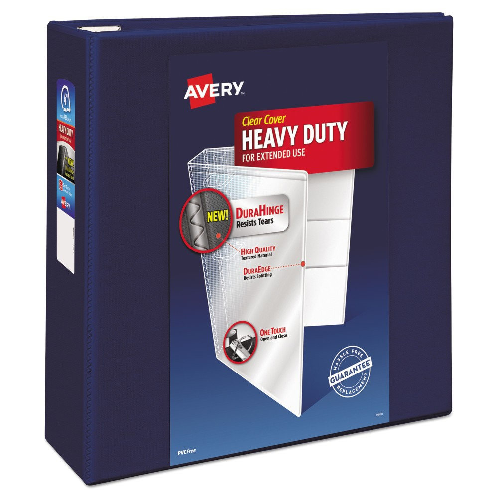 "Image of ""Avery 4"""" Heavy Duty View Ring Binder with One Touch EZD Rings - Navy Blue"""