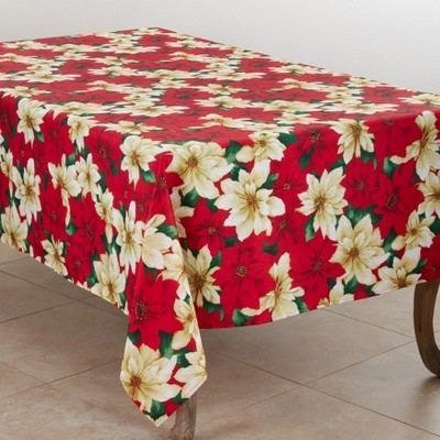 Saro Lifestyle Poinsettia Design Holiday Tablecloth