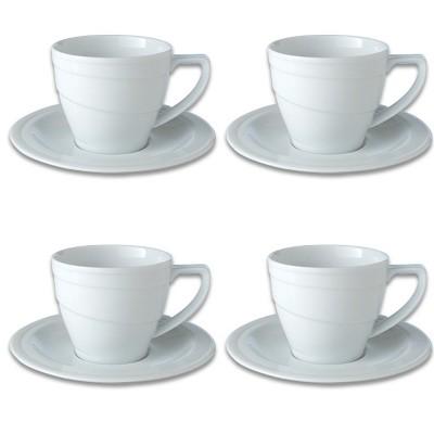 BergHOFF Essentials 12Oz Porcelain Breakfast Cup & Saucers, Set of 4