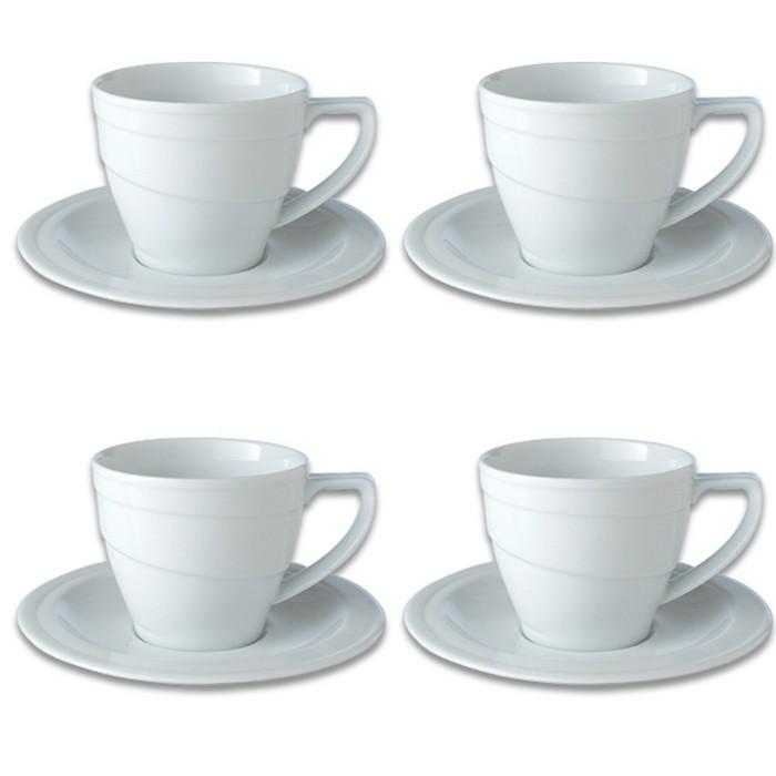 BergHOFF Essentials 12Oz Porcelain Breakfast Cup & Saucers, Set Of 4 : Target