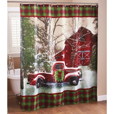 Lakeside Christmas Shower Curtain with Vintage Red Truck, Barn and Holiday Trees