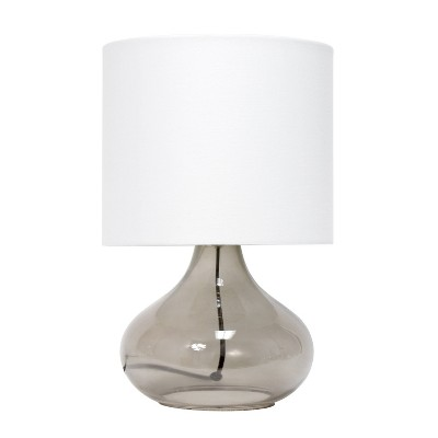 Glass Raindrop Table Lamp with Fabric Shade Smoke Gray - Simple Designs