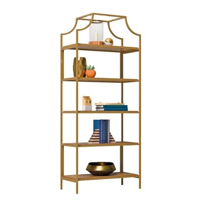 "70.88"" 5 Shelves International Lux Metal Frame Bookcase Sindoori Mango - Sauder"