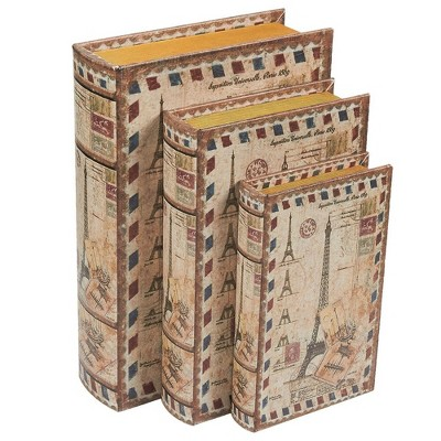 Juvale 3-Pack Decorative Fake Book, Books with Secret Compartment, Eiffel Tower Design (3 Sizes)