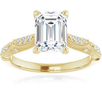 Pompeii3 1 1/4 Ct Emerald Diamond Engagement Ring 14k Yellow Gold