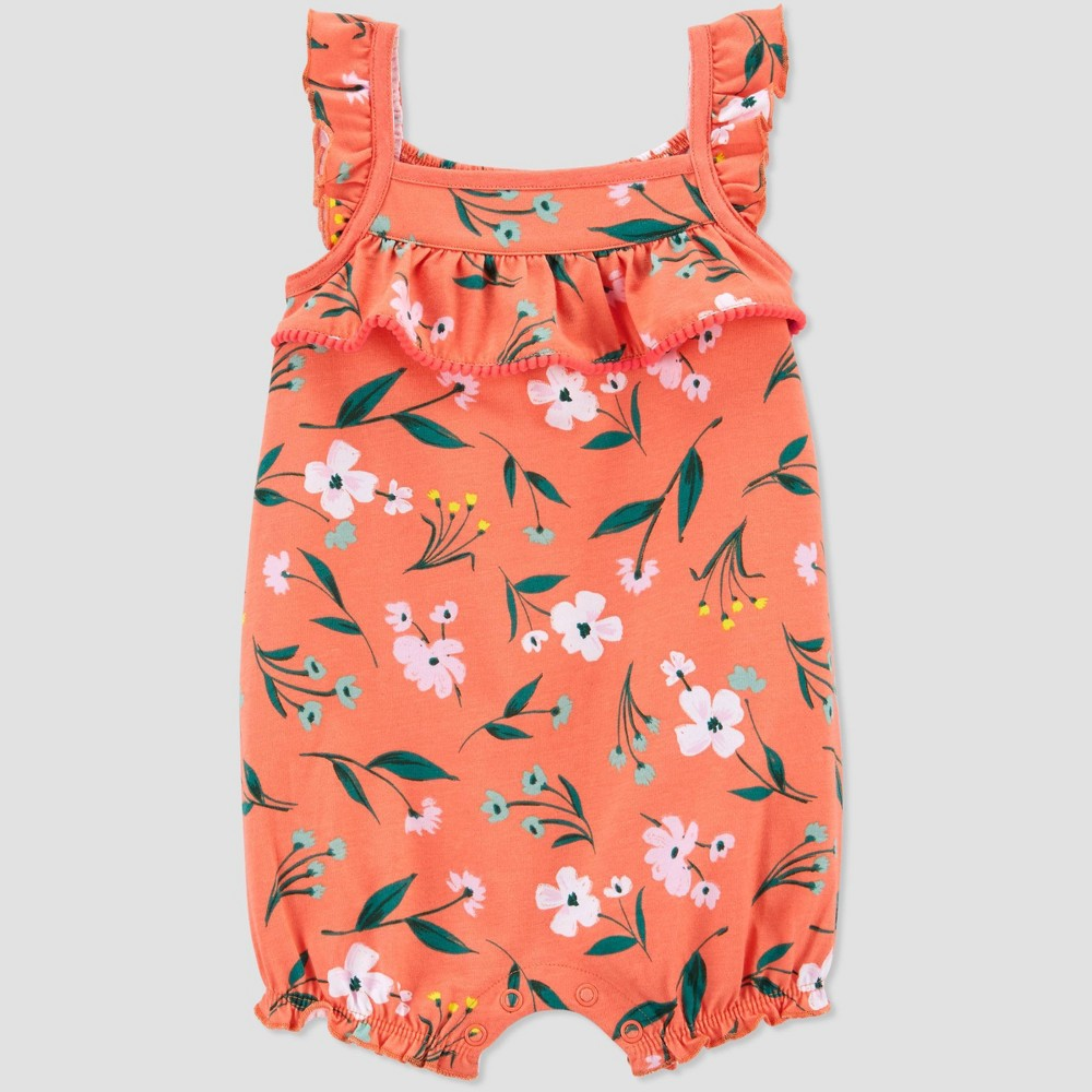 Baby Girls 39 Floral Romper Just One You 174 Made By Carter 39 S Coral 12m