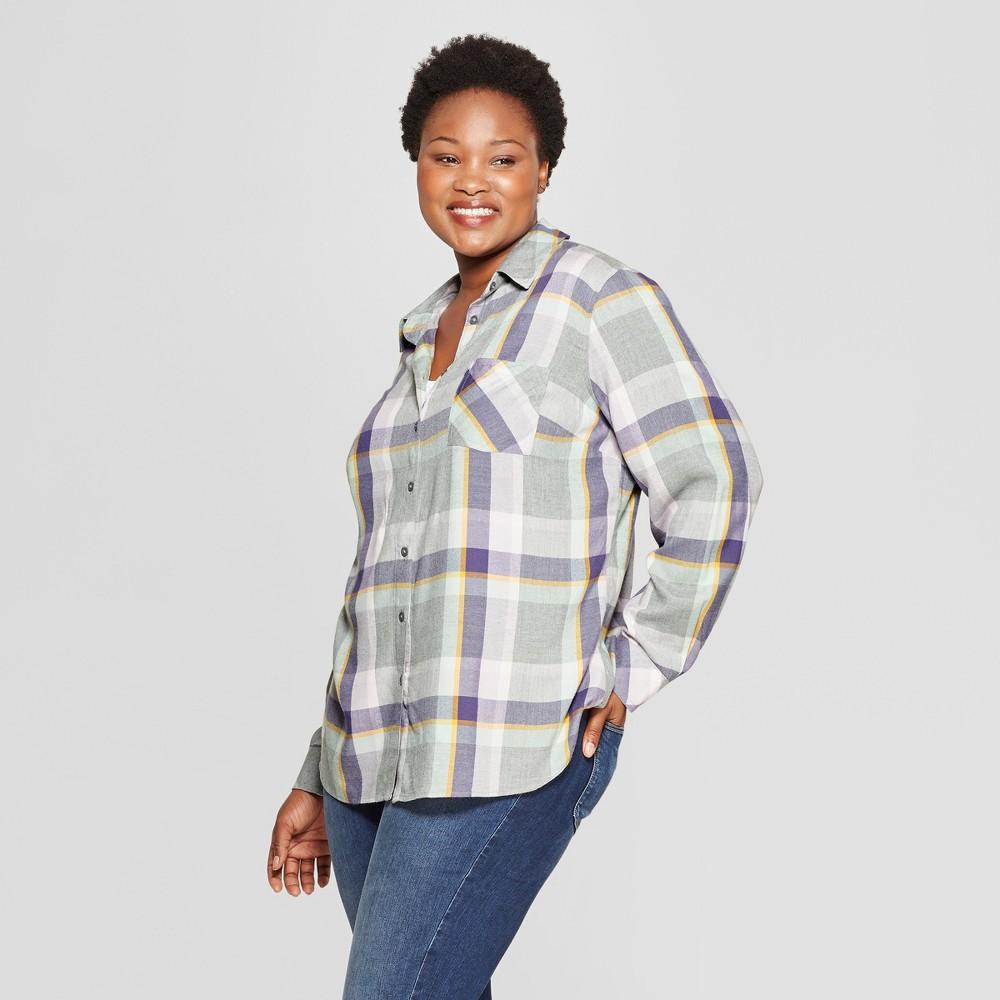 Women's Plus Size Plaid No Gap Button-Down Long Sleeve Shirt - Ava & Viv Lavender X, Purple