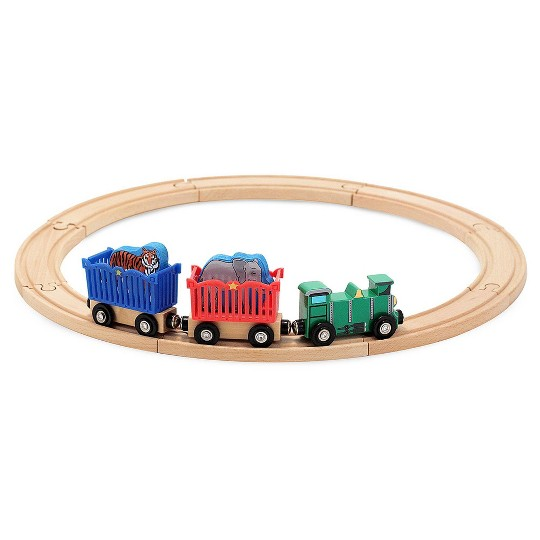 Melissa & Doug Zoo Animal Wooden Train Set (12+pc) image number null