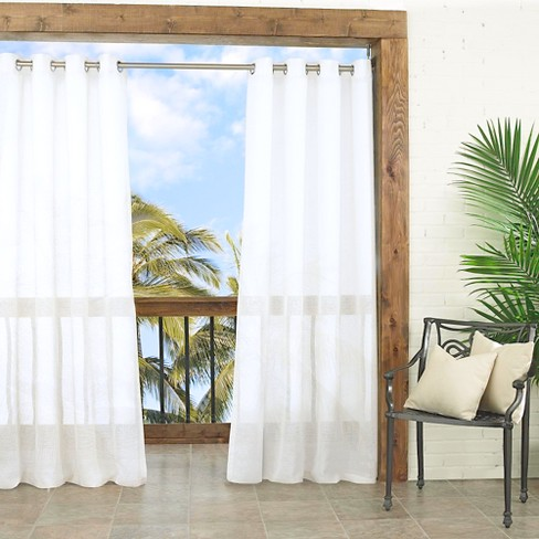 "Summerland Key Sheer Indoor/Outdoor Curtain Panel White (52""x84"") - Parasol - image 1 of 1"