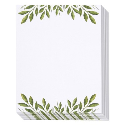 """96 Sheets Leaf Themed Letterhead Stationery Papers, Printer Friendly Letter Sized, 8.5"""" x 11"""""""