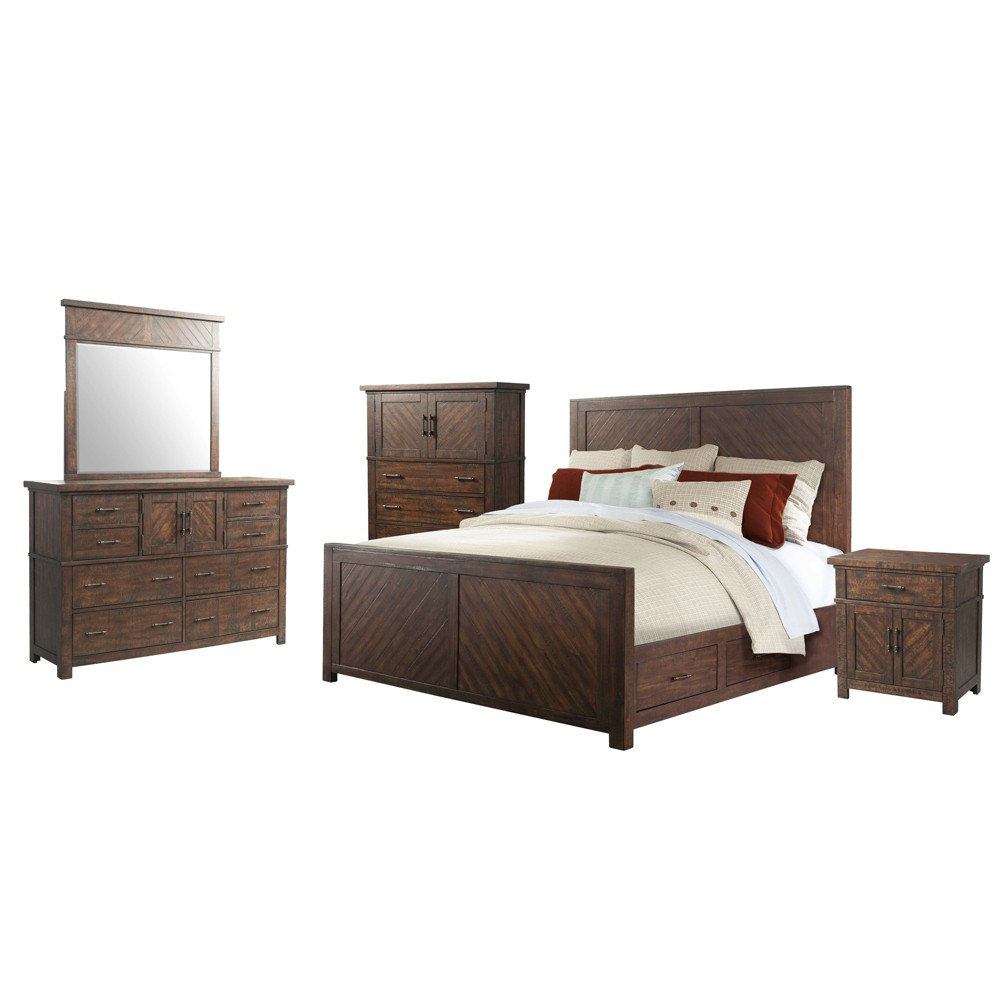 Dex King Platform Storage 5pc Bedroom Set Walnut Brown - Picket House Furnishings