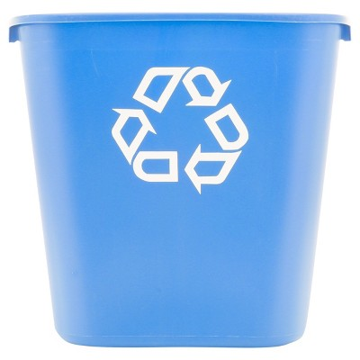 Rubbermaid® Commercial Medium Deskside Recycling Container, Rectangular, Plastic, 28.125qt, Blue