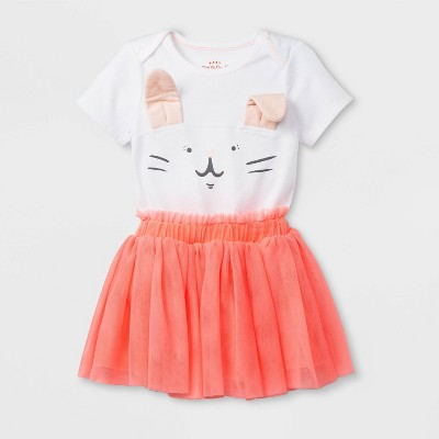 Baby Girls' Short Sleeve Lap Shoulder Bunny Bodysuit and Tutu Set - Cat & Jack™ White/Peach 0-3M