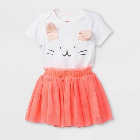 Baby Girls' Short Sleeve Lap Shoulder Bunny Bodysuit and Tutu Set - Cat & Jack™ White/Peach 24M - image 1 of 2