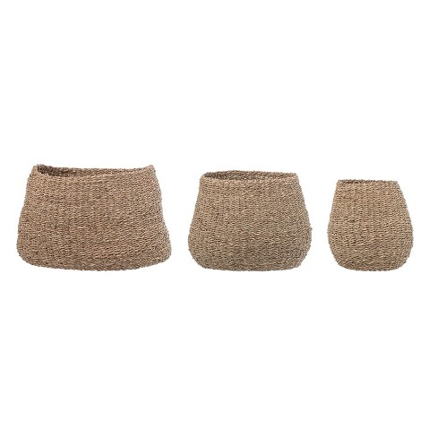 3pc Natural Seagrass Baskets Brown - 3R Studios - image 1 of 3