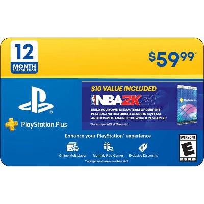 PlayStation Plus 12 Month Subscription with Bonus $10 NBA 2K21 Content (Digital)