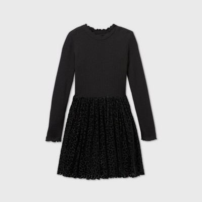 Girls' Leopard Print Long Sleeve Velvet Dress - art class™ Black
