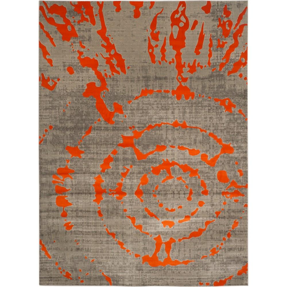 Tie Dye Design Loomed Area Rug Light Gray/Orange