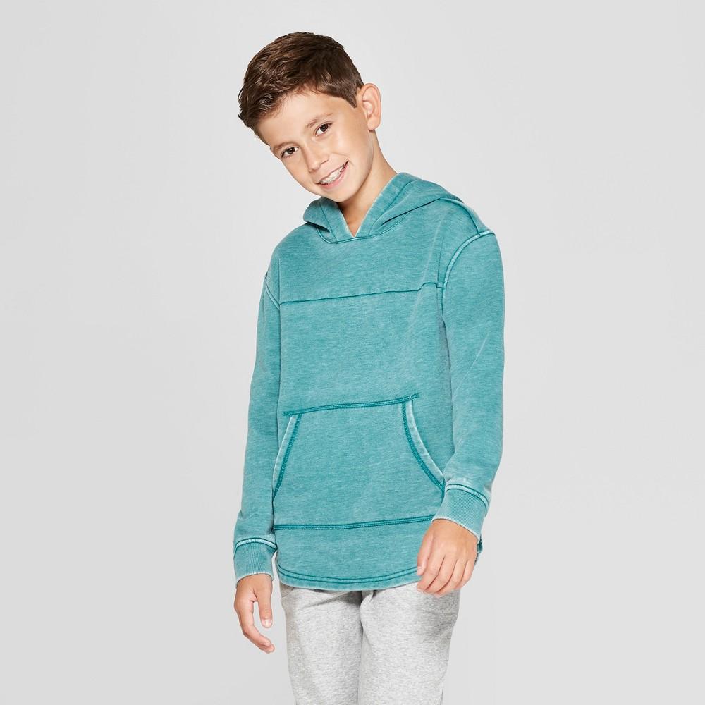 Boys' Hooded Sunburn Wash Sweatshirt - Cat & Jack Turquoise Heather M