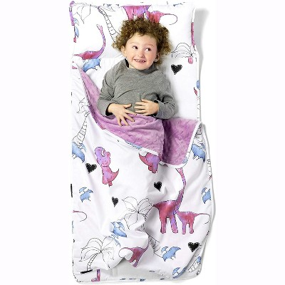 JumpOff Jo Toddler Nap Mat - Children's Sleeping Bag with Removable Pillow for Preschool, Daycare, and Sleepovers - 43 x 21 Inches - Pink Dino