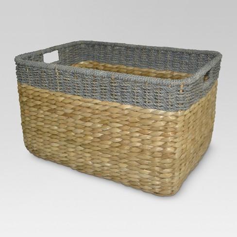 Seagrass Extra Large Rectangle Storage Basket Gray Trim