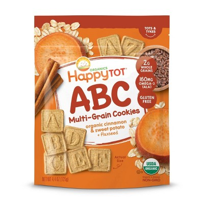 HappyTot ABC Organic Cinnamon & Sweet Potato with Flaxseed Multi-Grain Cookies Baby Snacks - 4.4oz
