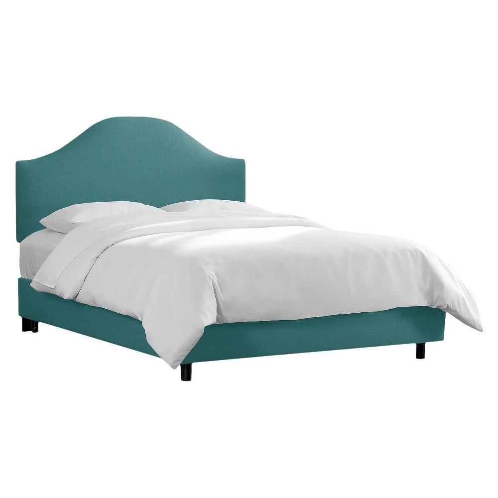 Skyline Custom Upholstered Curved Headboard Bed - King - Skyline Furniture, Linen Laguna
