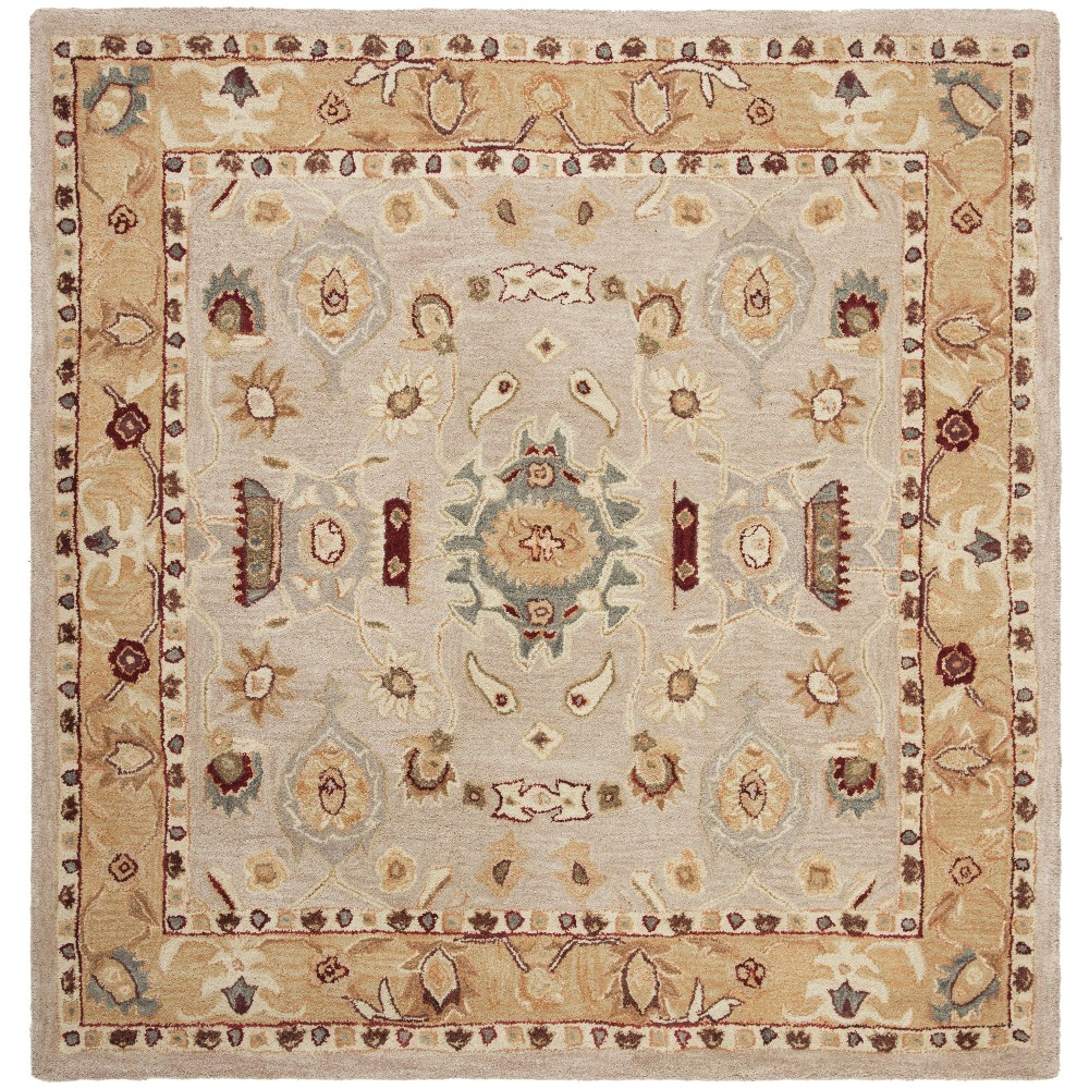8 X8 Floral Tufted Square Area Rug Ivory Gold Safavieh