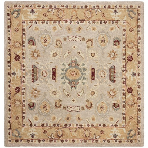 8'X8' Floral Tufted Square Area Rug Ivory/Gold - Safavieh - image 1 of 2