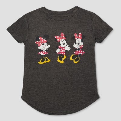 Toddler Girls' Disney Mickey Mouse & Friends Minnie Mouse Poses Short Sleeve T-Shirt - Charcoal Heather 12M