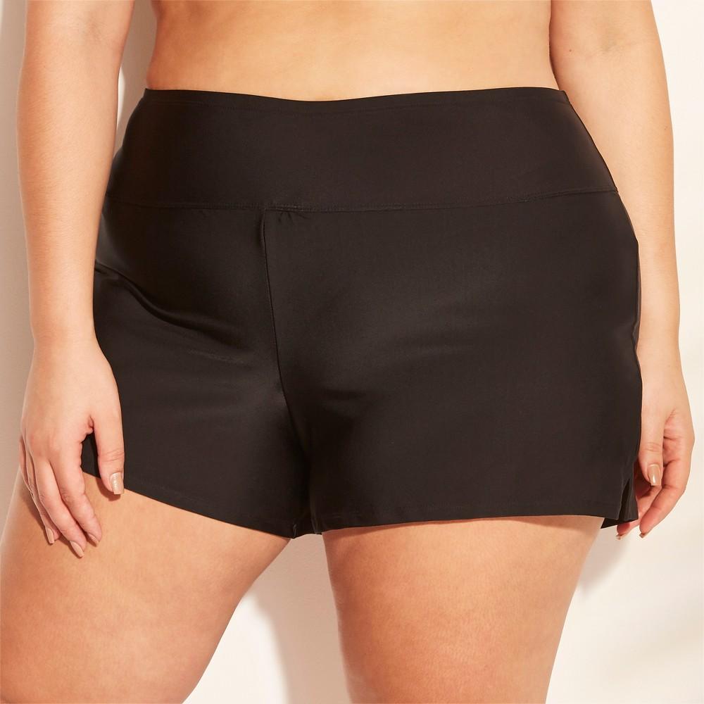 Women's Plus Size Swim Boyshort - Kona Sol Black 20W/22W
