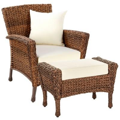 Faux Sea Grass Patio Chair & Ottoman - W Unlimited