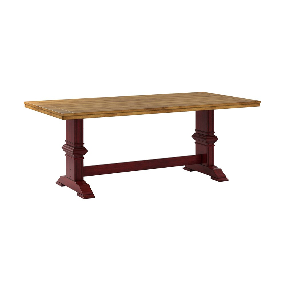 South Hill Farmhouse Extendable Trestle Base Dining Table - Red - Inspire Q
