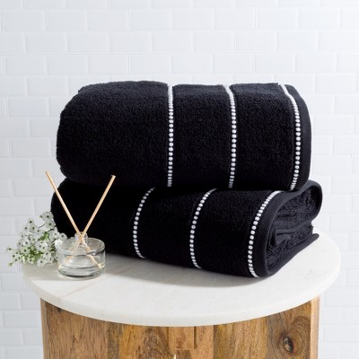 2pc Luxury Cotton Bath Towels Sets Black - Yorkshire Home