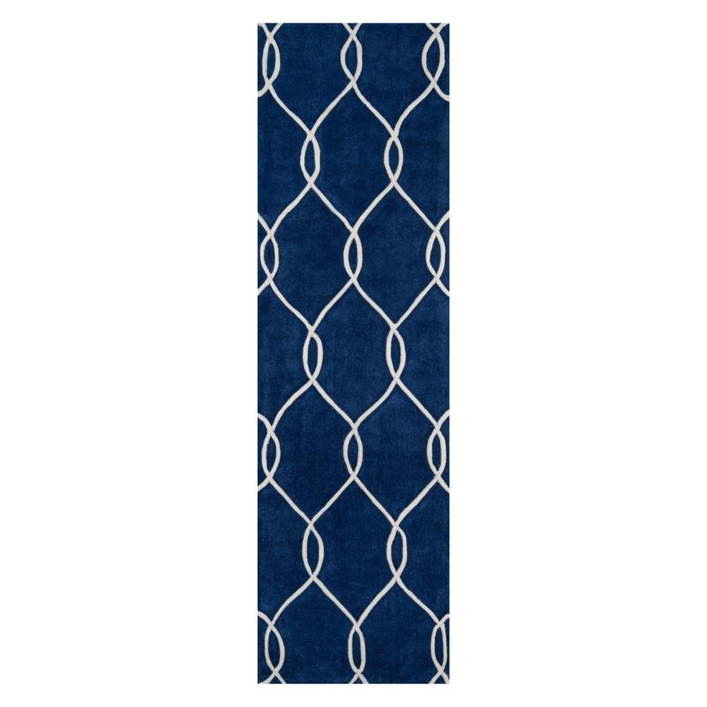 2'3X8' Geometric Tufted Runner Navy (Blue) - Momeni