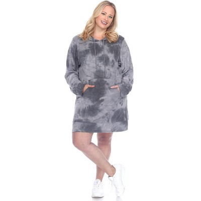 Women's Plus Size Hoodie Tie Dye Sweatshirt Dress - White Mark