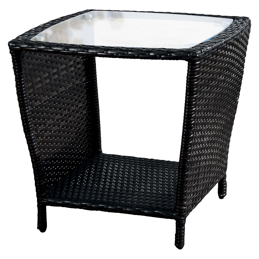 Weston Wicker with Glass Top Patio Side Table - Black - Christopher Knight Home