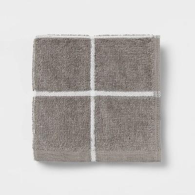 Everyday Grid Washcloth Dark Gray - Room Essentials™