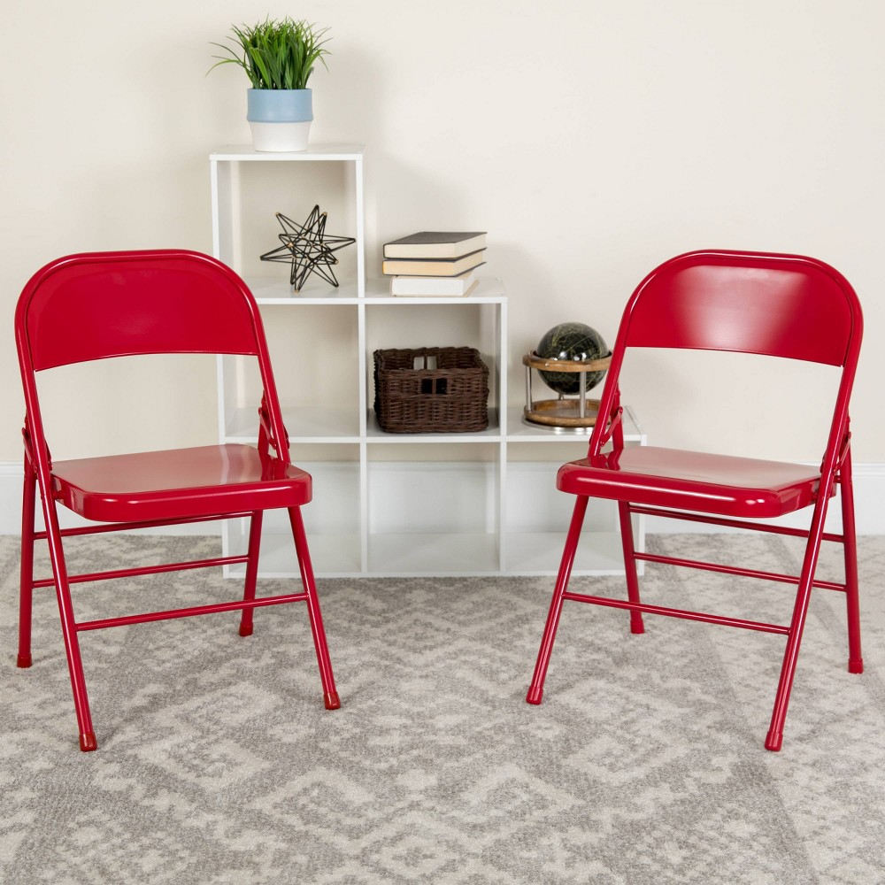 Riverstone Furniture Collection Metal Folding Chair Red
