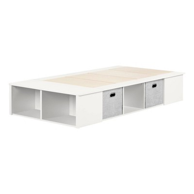 Twin Flexible Platform Bed with baskets   Pure White  - South Shore