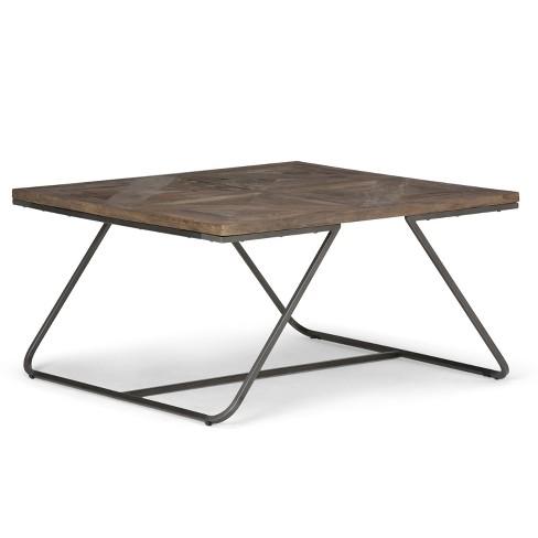 Hailey Square Coffee Table Distressed Java Brown Wood Inlay Simpli Home