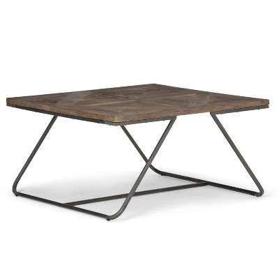 Hailey Square Coffee Table Distressed Java Brown Wood Inlay   Simpli Home