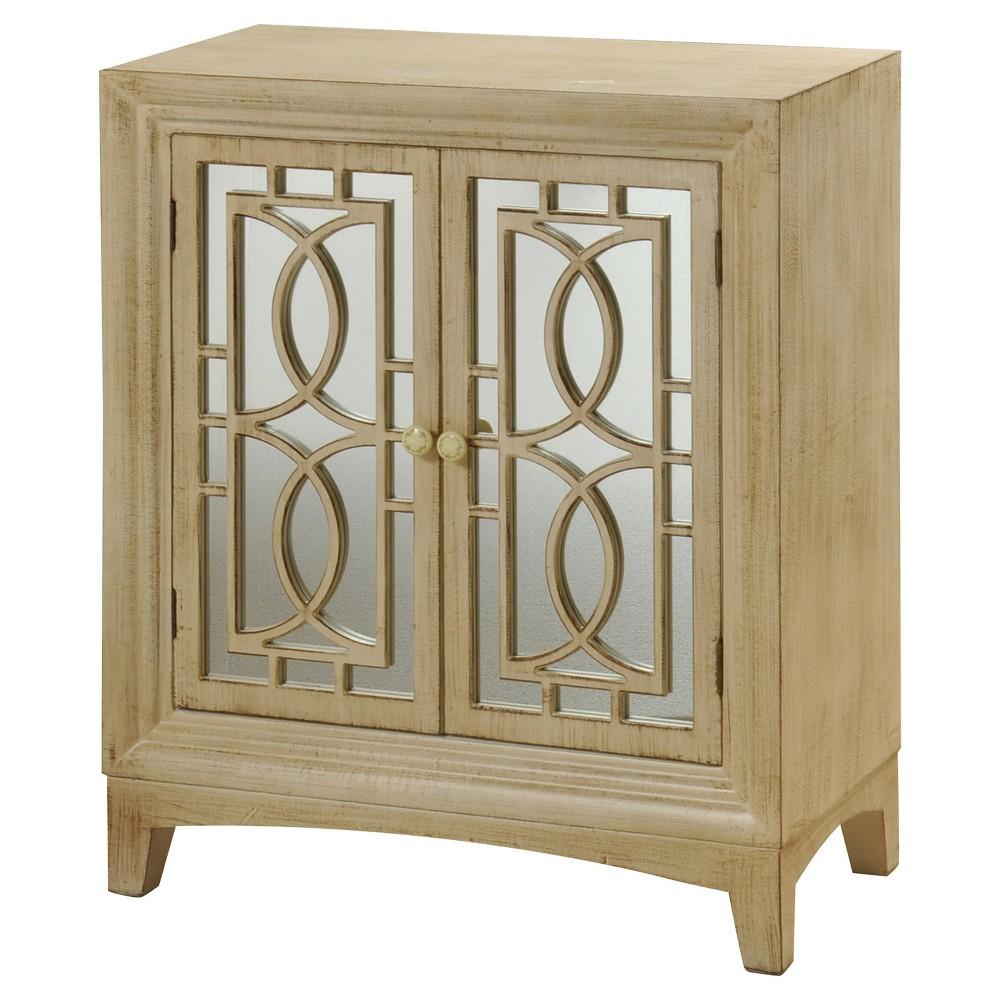 Two Door Weathered Wood Cabinet - Antique Bisque - Stylecraft, Off White