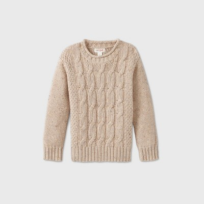 Toddler Boys' Cable Solid Pullover Sweater - Cat & Jack™ Cream 2T
