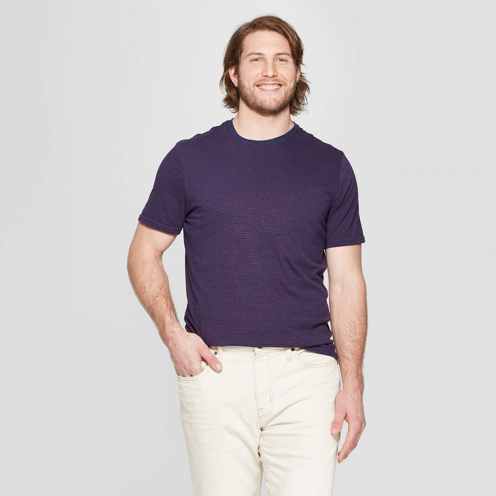 Men's Big & Tall Pinstripe Standard Fit Short Sleeve Novelty T-Shirt - Goodfellow & Co Majesty Red 2XB