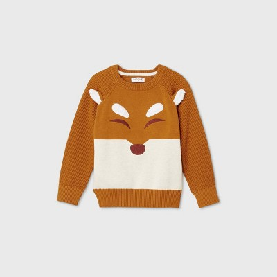 Toddler Boys' Crew Neck Jacquard Pullover Sweater - Cat & Jack™ Orange